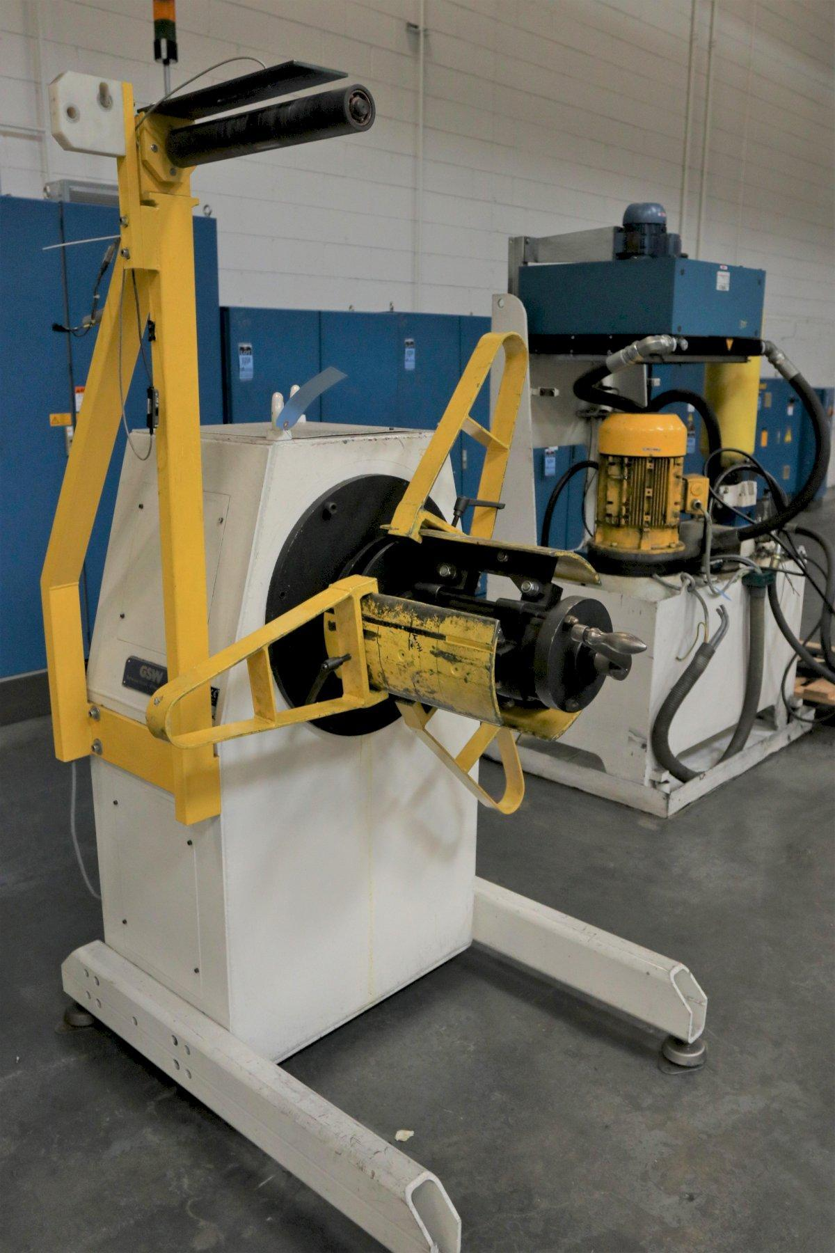 "1100 LB X 16"" GSW MODEL #MHM0.5/1250SO SERVO MOTORIZED COIL REEL UNCOILER, NEW 1999: STOCK 12985"