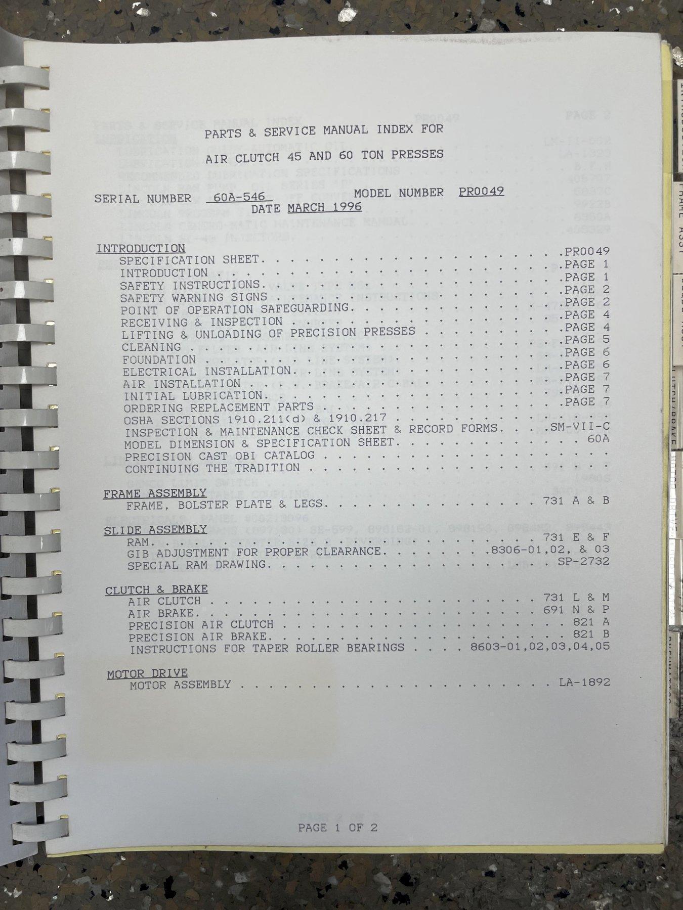 (1996) 60 TON FEDERAl OBI PRESS. STOCK # 0635921