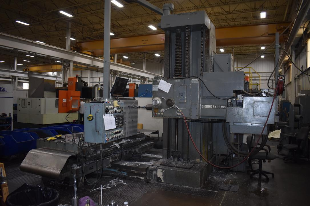 "6"" GIDDINGS & LEWIS, MODEL 70-H6-T, CNC HORIZONTAL TABLE TYPE BORING MILL, 98"" X 60"" TABLE, UPDATED CONTROLS, 1967"