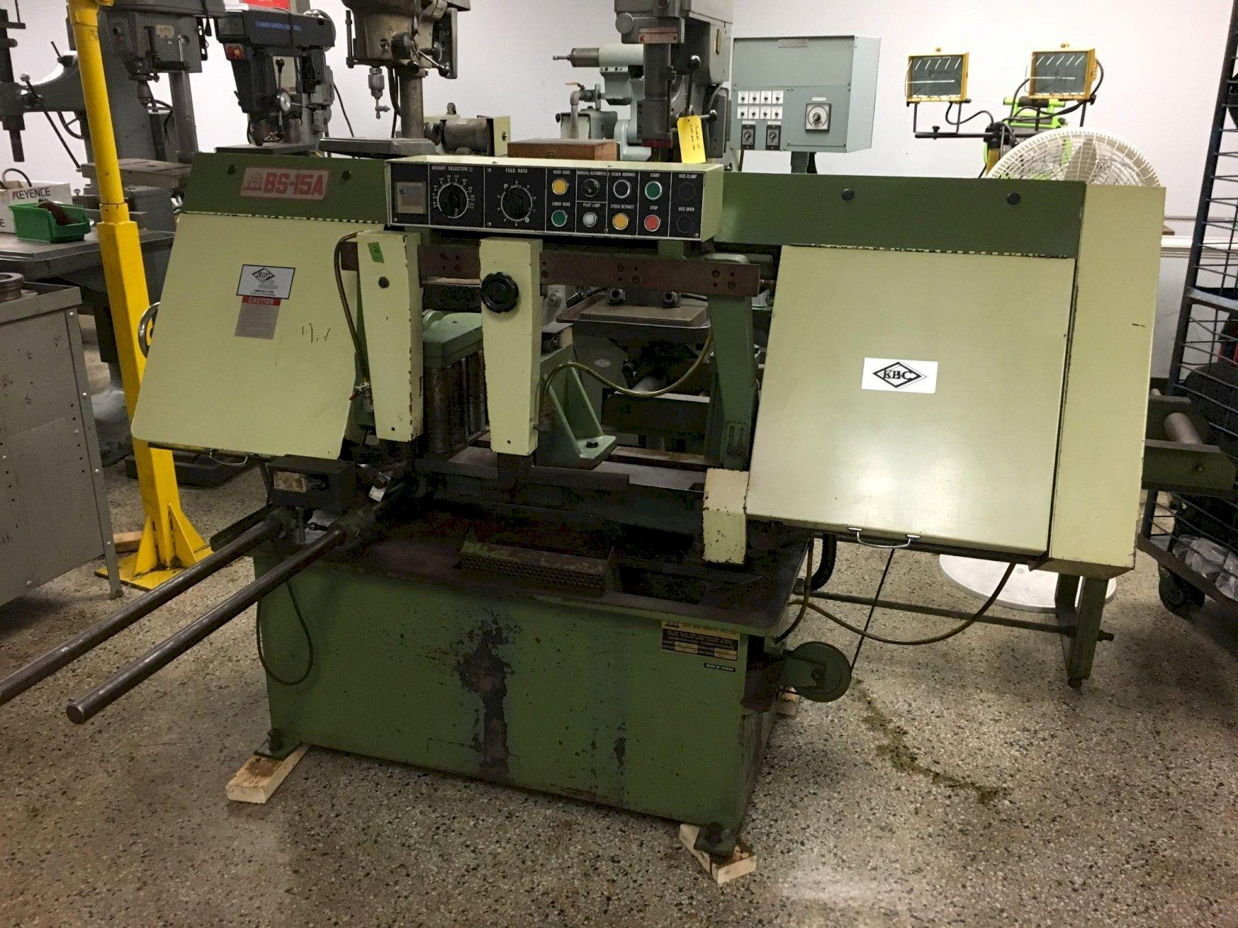 "KBC Model BS-15A 15"" Capacity Auto Cycle Horizontal Band Saw, S/N 15037."