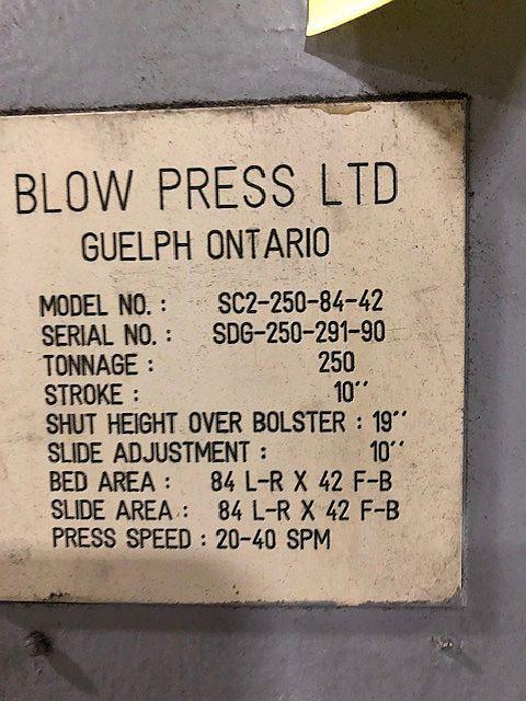 250 ton Blow SE2-250-84-42 Straight Side Press, New 1990