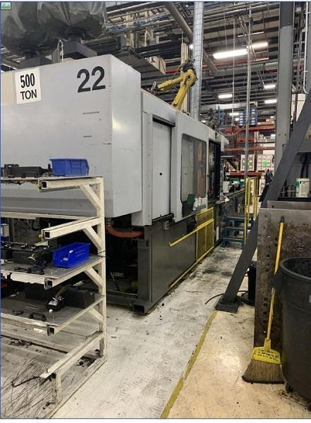 Cincinnati Used VH500-54 Injection Molding Machine, 500 US ton, Yr. 1994, 54 oz.