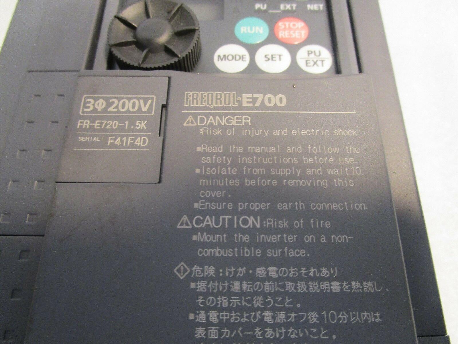 Mitsubishi Freqrol E700 Motor Controller FR-E720-1.5K