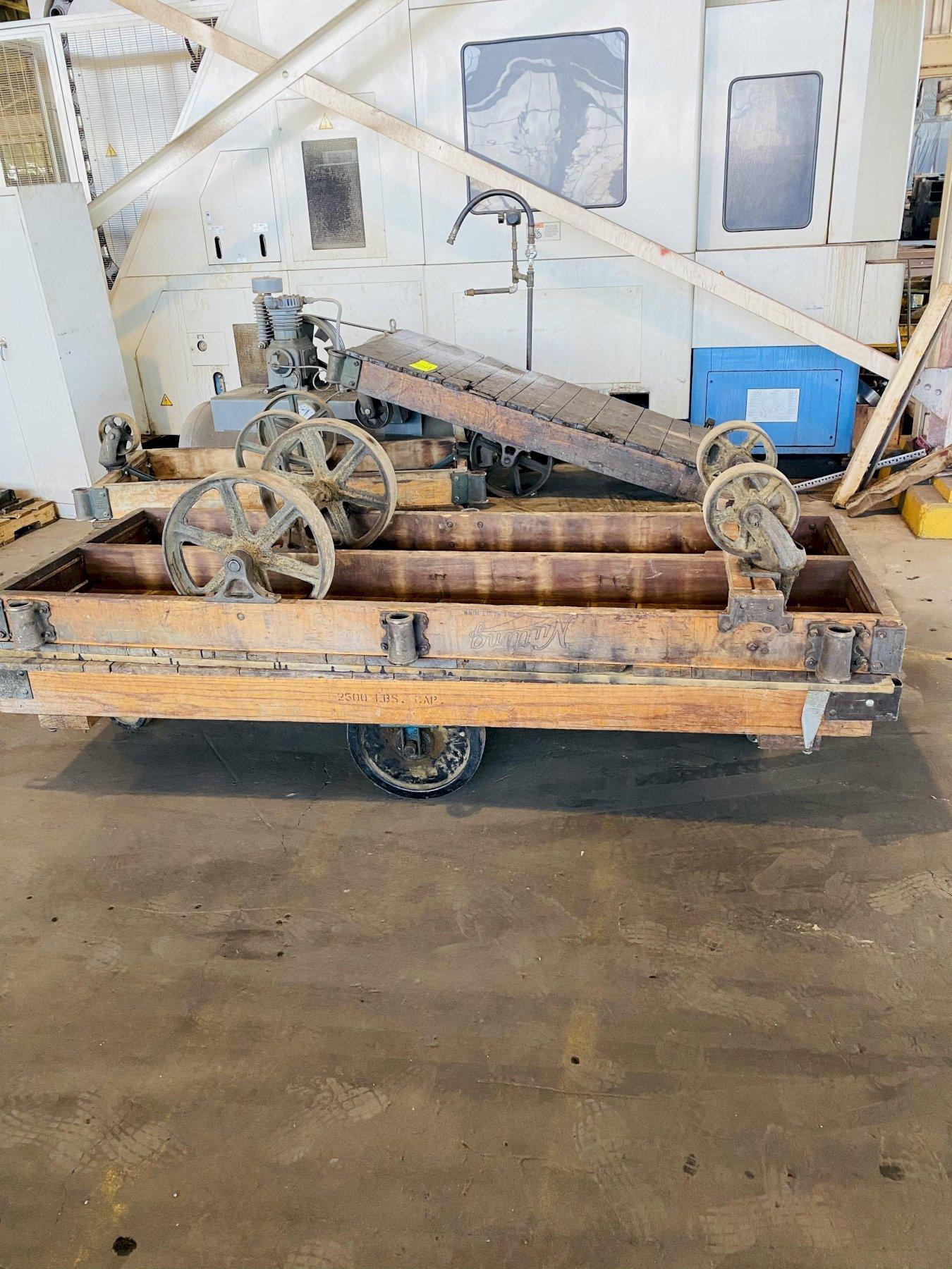 """(2) 36"""" X 96"""" WOODEN MATERIAL CARTS WITH CASTERS. STOCK # 0312721"""