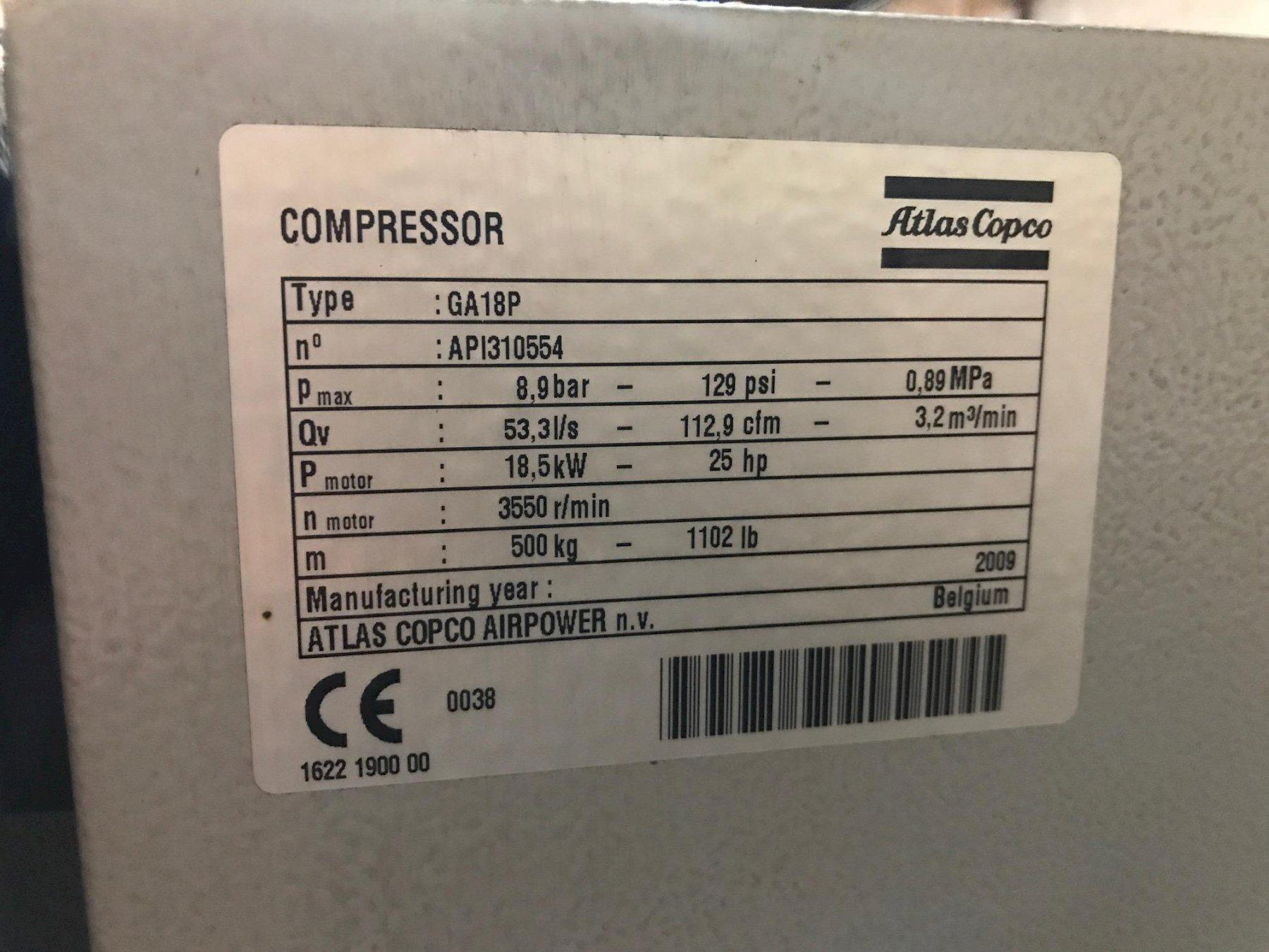 25 Hp Atlas Copco GA18P Rotary Screw air compressor, with Integrated Refrigerated air dryer