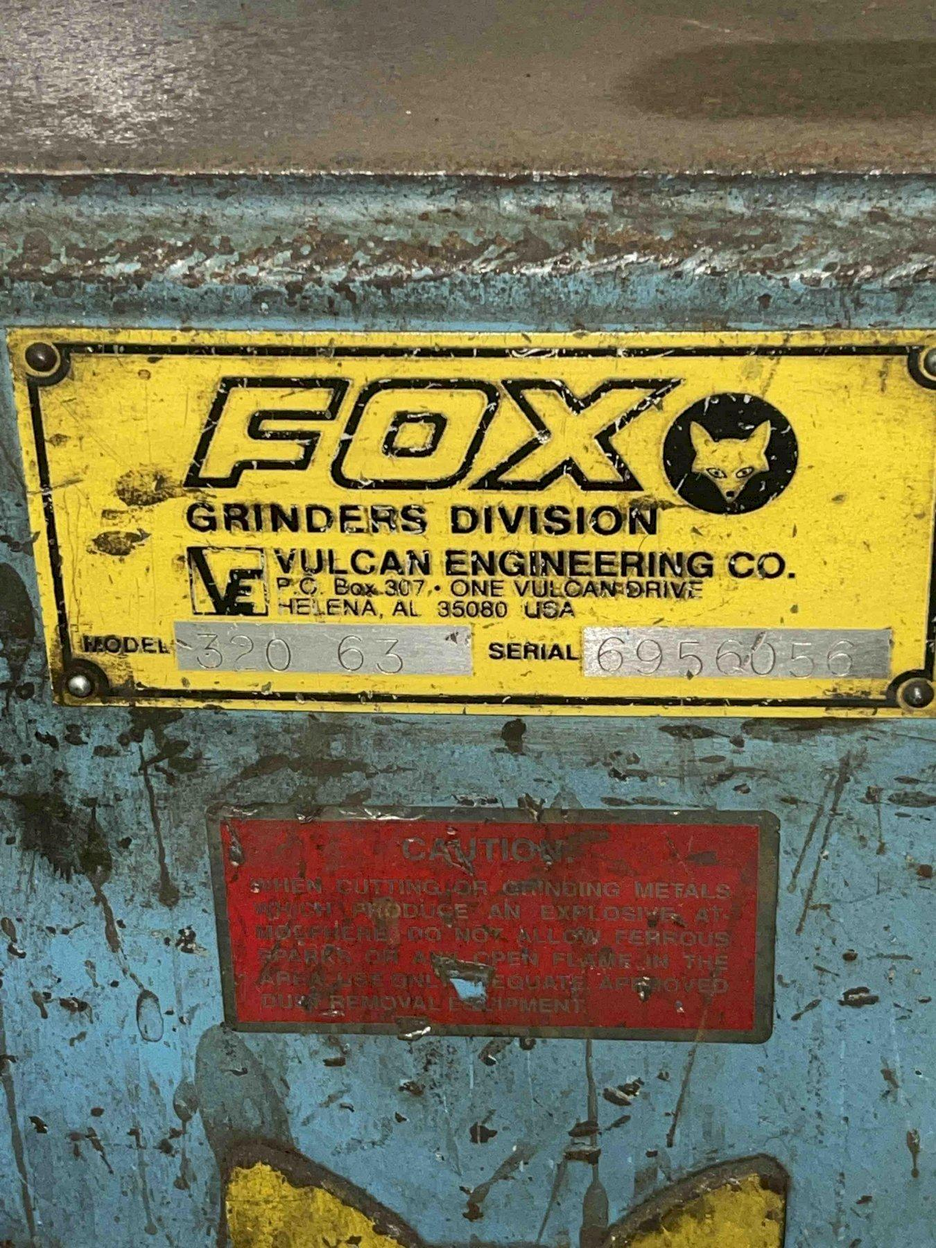 """Fox model 320-63 20"""" double end grinder s/n 6956056, note: only using one side as a belt grinder"""
