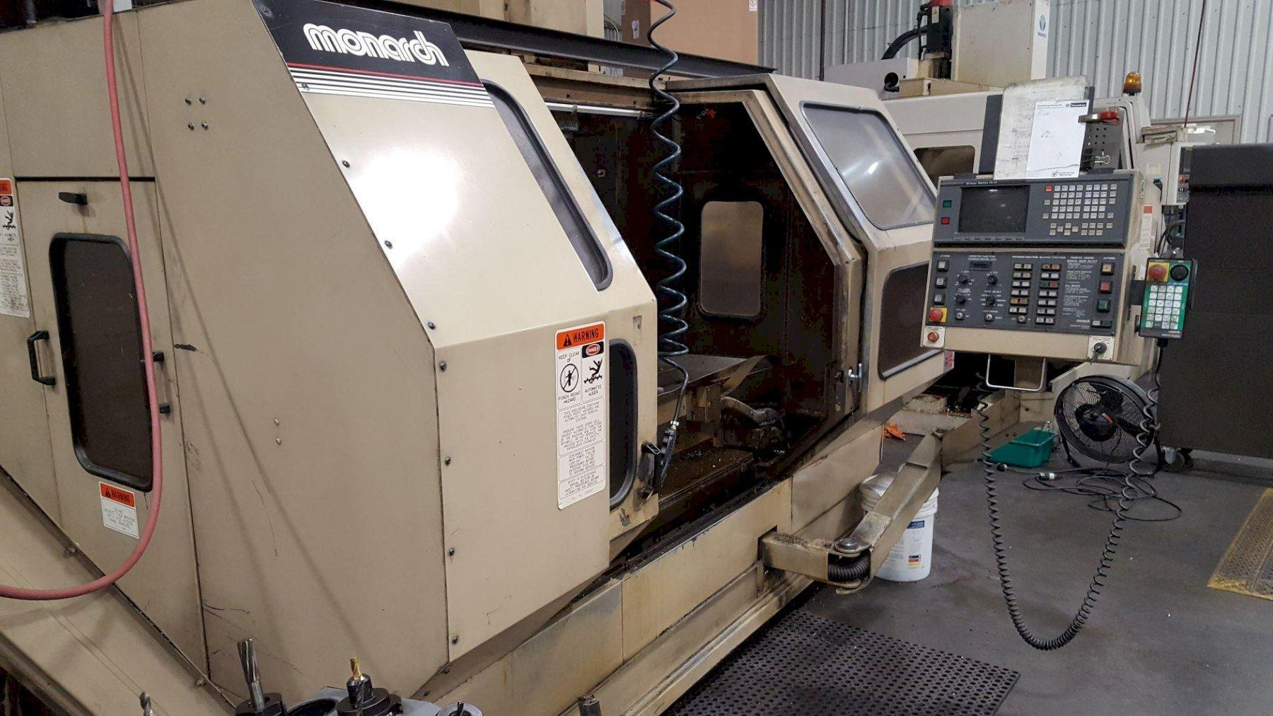 "Monarch VMC-45B, Fanuc 16M, 30"" x 18"" x 24"" , chip conveyor, assorted tool holders"