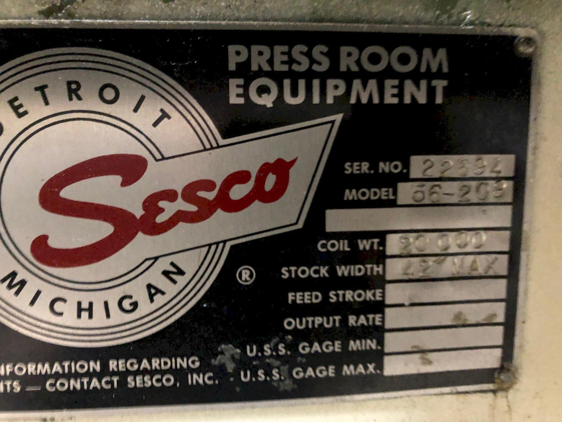 "SESCO Coil Cradle - Straightener - Feeder Complete Coil Feed Line 20,000 Lbs. x 42"" Wide"