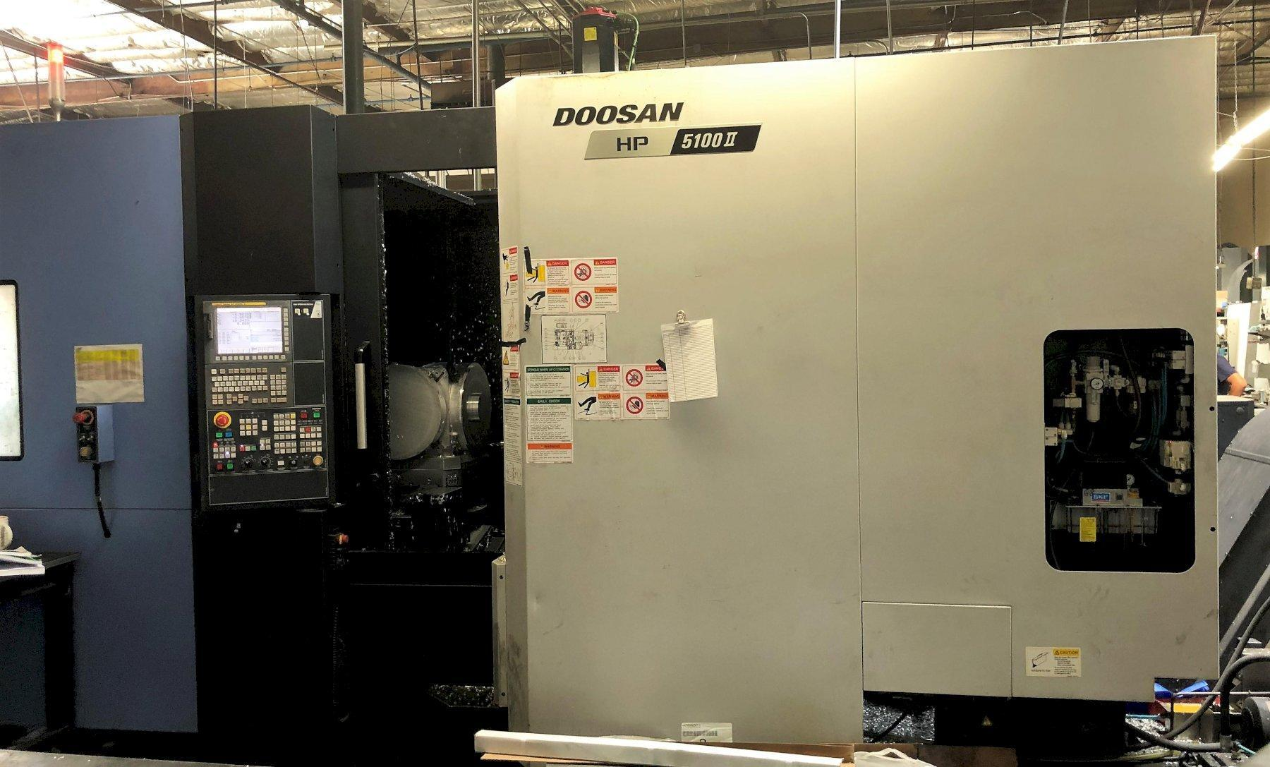 Doosan HP-5100II HMC 2015 with 10 Pallet Linear Pallet System,  Fanuc 31iB CNC Control, Full B-Axis, CT40, 14k RPM Spindle, 262 Position Magazine Tool Changer, Through Spindle Coolant, Rear Chip Conveyor.