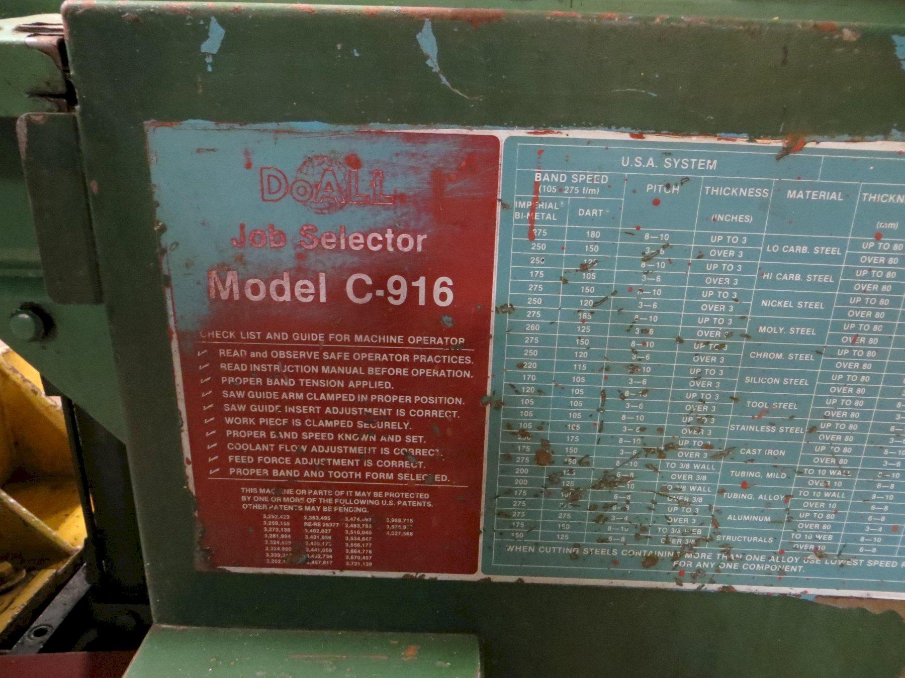 "9"" x 16"" DoAll Horizontal Band Saw Model C-916M"