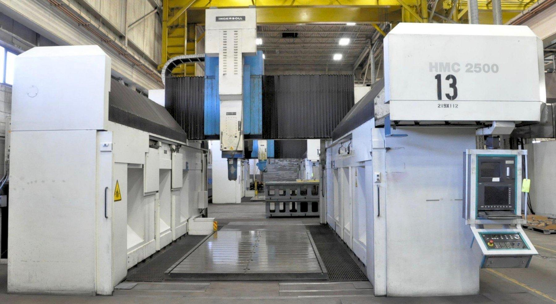 "ngersoll Model HMC-2500, 5-Axis Gantry Type High Speed CNC Vertical Machining Center, 197"" x 98"" Table Size, 226"" X-Axis, 111"" Y-Axis, 59"" Z-Axis, 67"" Height Under Spindle, Automatic Spindle Changer, Siemens Sinumerik 840D CNC Controller, Oil Cooler, Chip Conveyor, 2001, (2) Avail"
