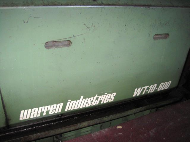 #10 Warren WT-10-600 Automated Flat Die Thread Roller