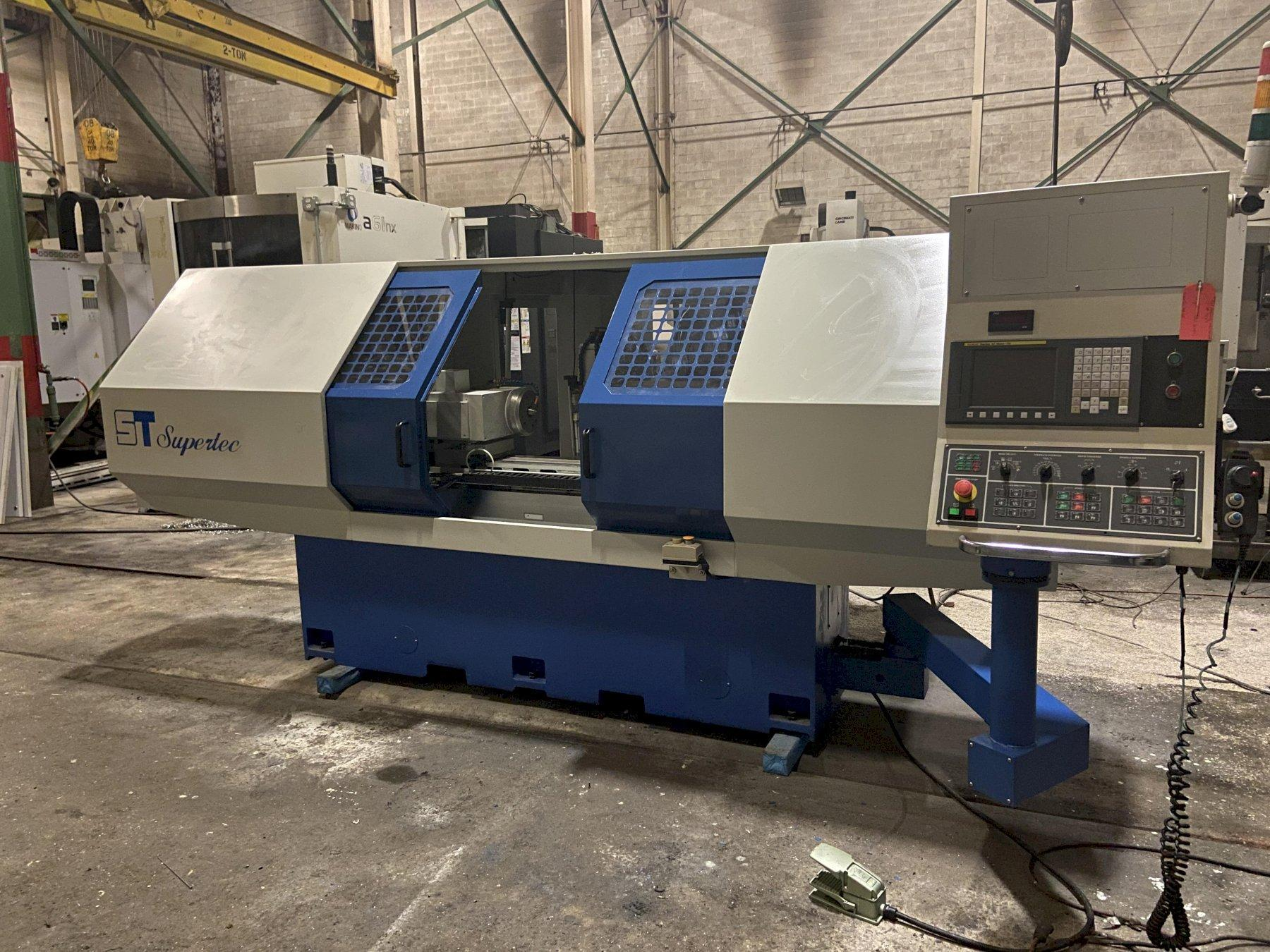 "Supertec G38P-60CNC Cylindrical Grinder, Fanuc 0iMC, 15"" Swing, 24"" Centers, 18"" Wheel Dia., Chiller, Coolant Tank w/Filtration, 2015"