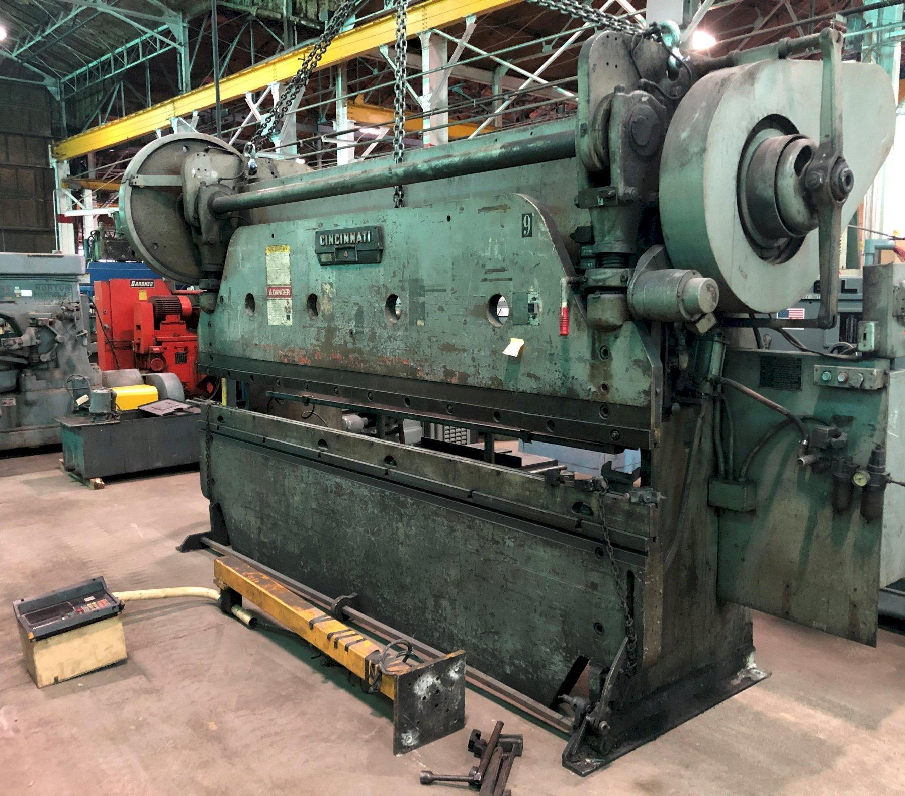 100 Ton Cincinnati Press Brake No. 4, Mechanical, 12′ O.A., 10'6″ B.H., 3″ Stroke, Hurco 5C Back Gauge, Low Price