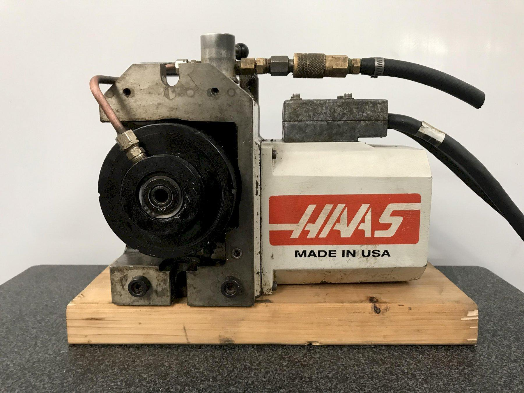 Haas HA5C Programmable Rotary Table, Brushless Drive motor, Hand Lever Collet Closer, Cables,  and Air Collet Closer.