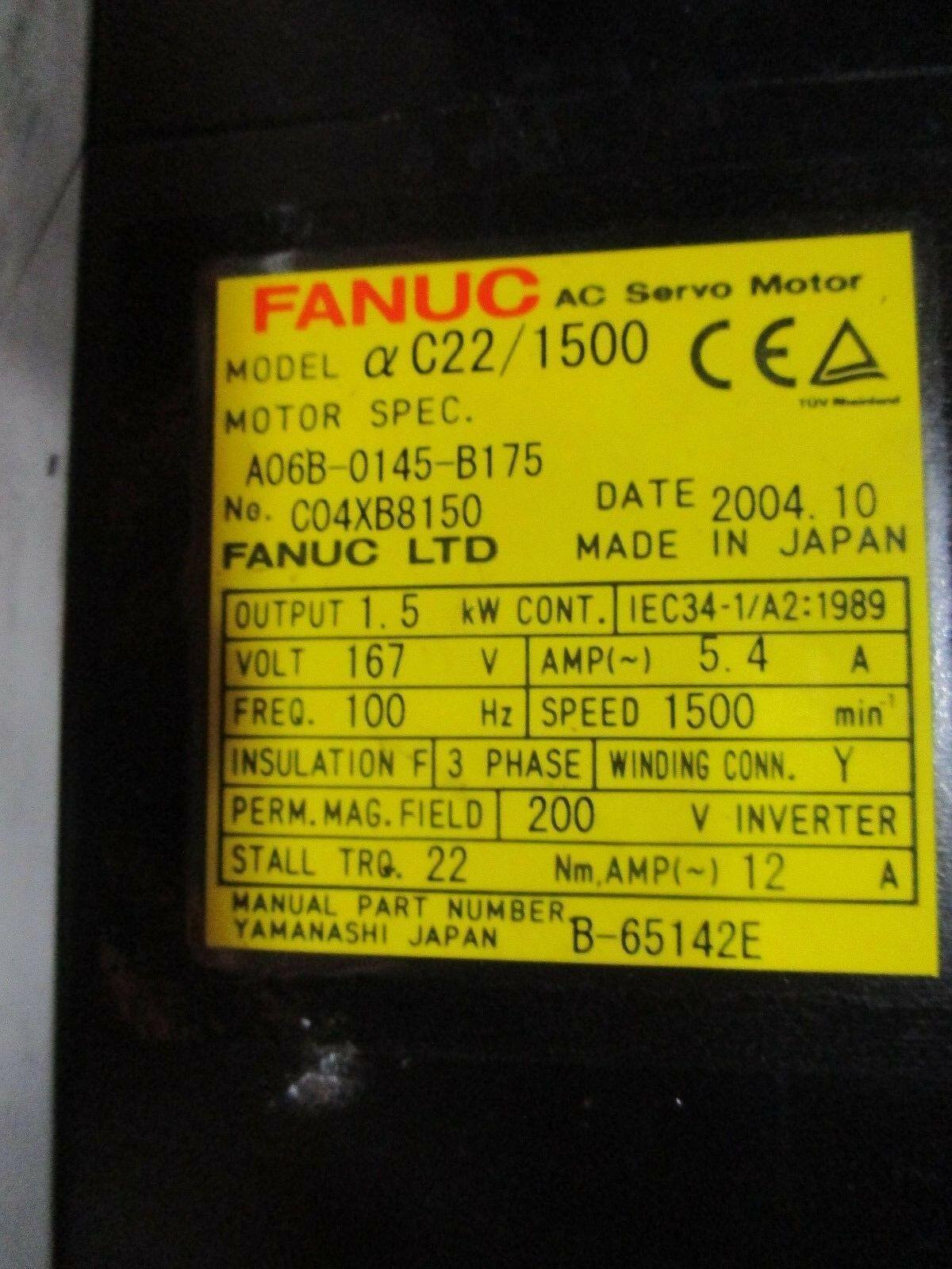 Fanuc Servo Motor Alpha C22/1500 A06B-0145-B175