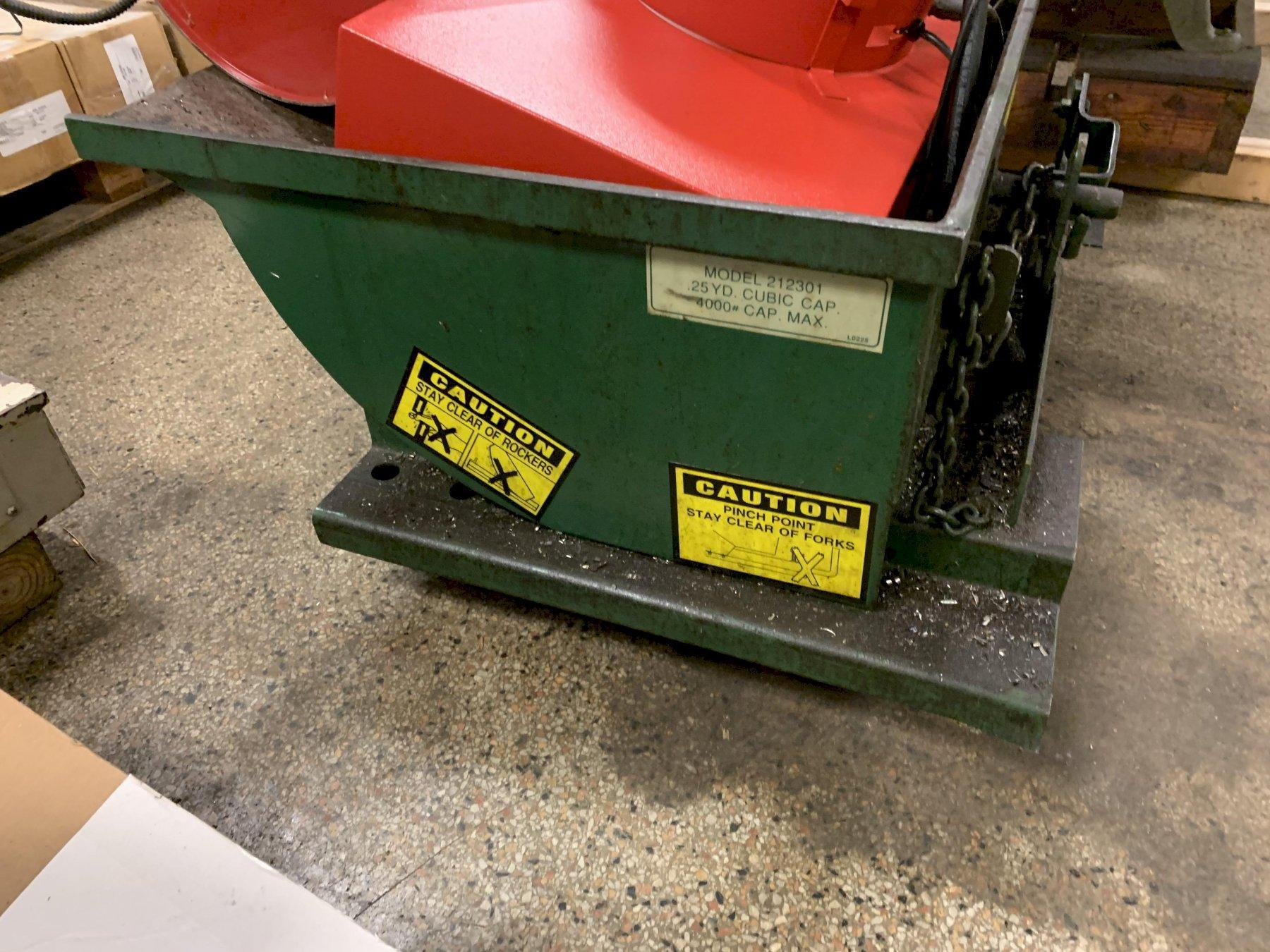JESCO #212301 1/4 yd cubic capacity 4000# cap max low profile dumper / hopper