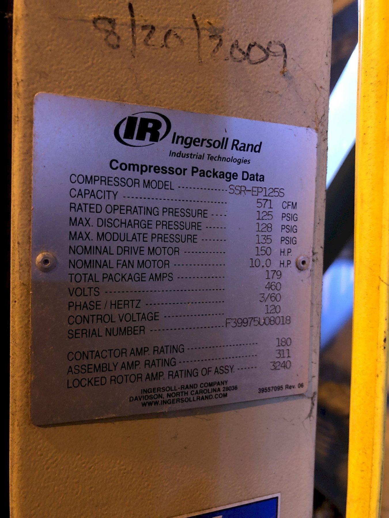 2008 Ingersol Rand model ssr-ep125s screw type air compressor s/n f39975u08018, 125 hp, digital readout