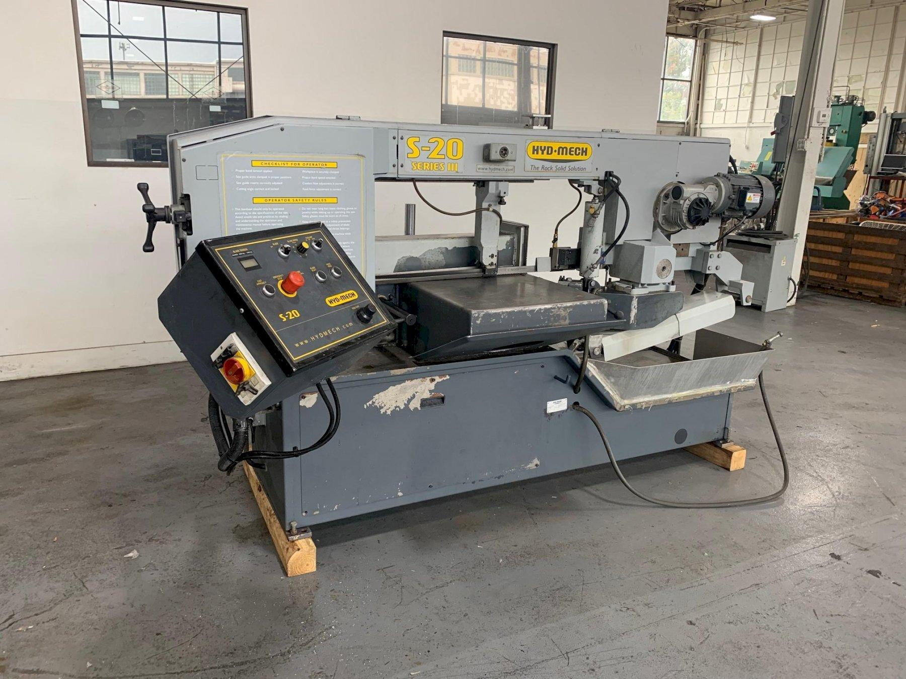 """USED HYD-MECH MODEL S-20 13"""" X 18"""" MANUAL MITERING BANDSAW, Stock# 10873, Year: 2006"""