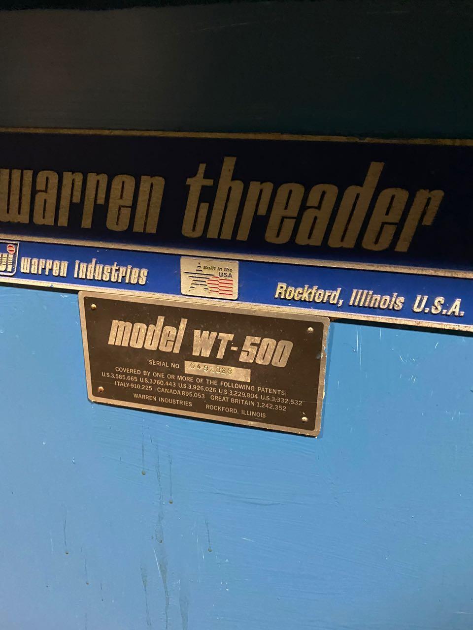 Warren Model WT-500 High Speed Flat Die Thread Roller