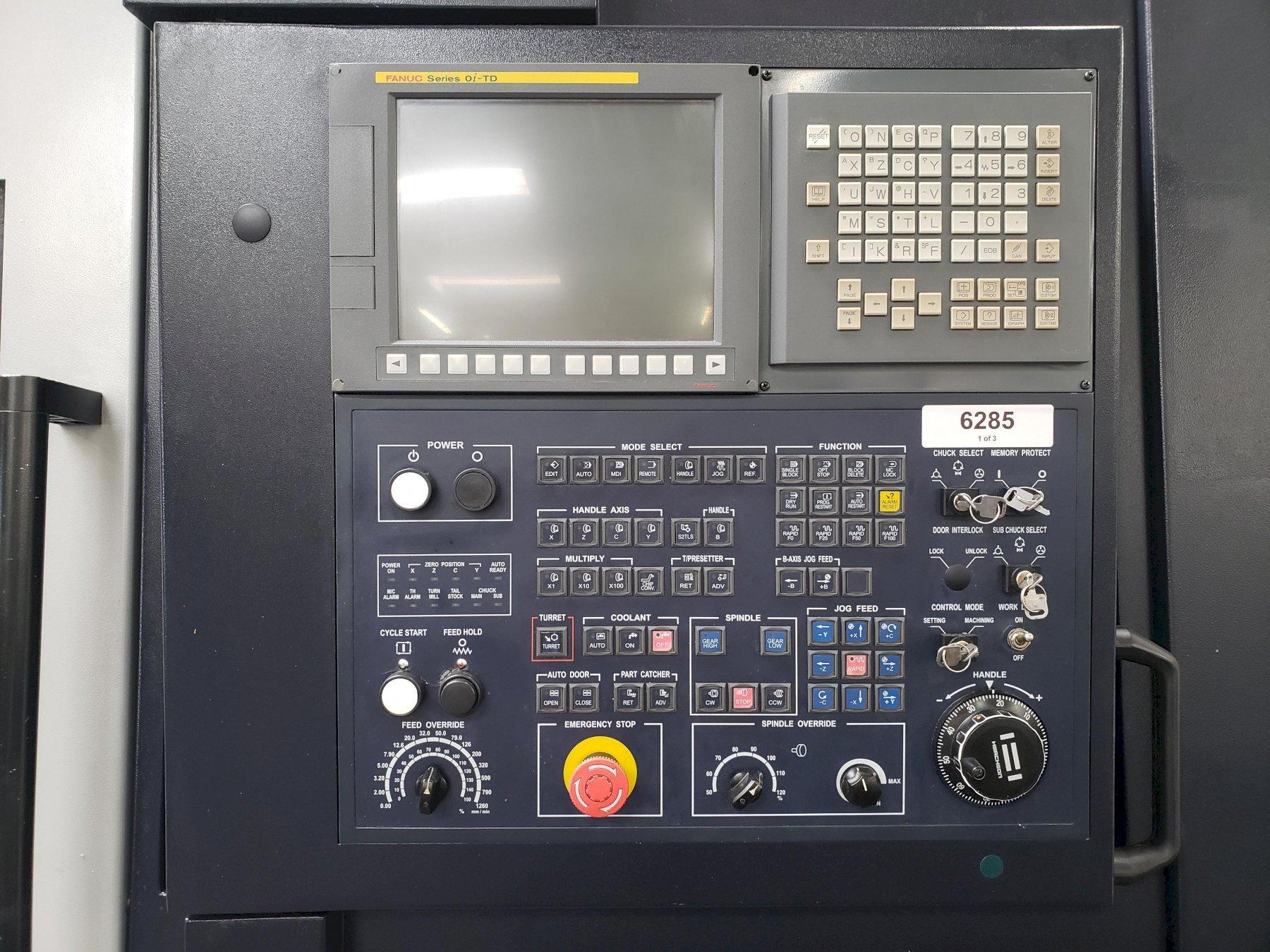 Hwacheon Hi-Tech 350A YSMC CNC Lathe 2015 with: Fanuc Series Oi-TD CNC Control, Y-Axis, Sub Spindle, Coolant Tank, and Chip Conveyor.
