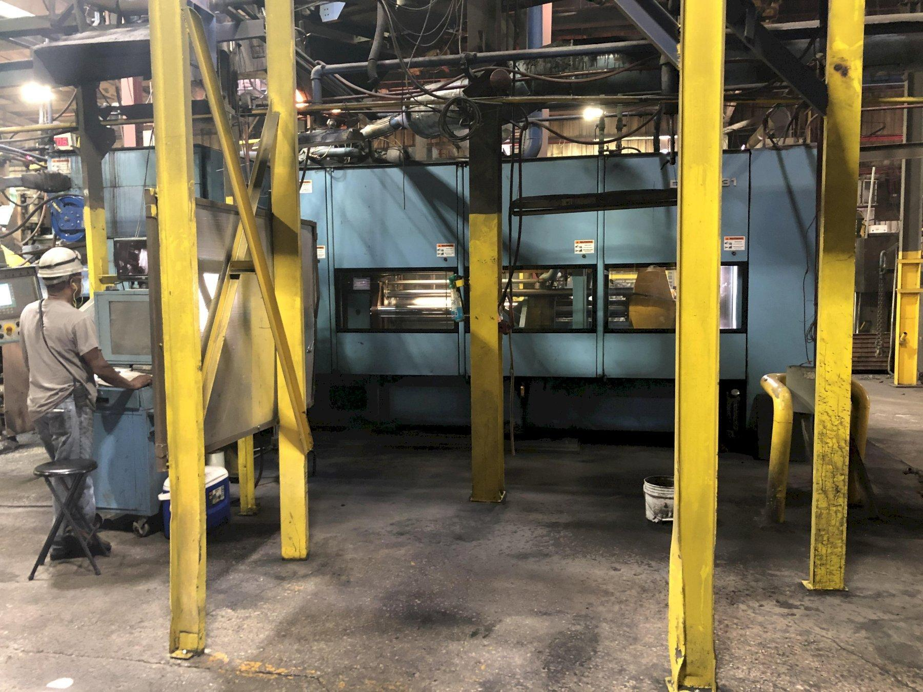 2012 DISAMATIC MODEL 131A (now d3a) AUTOMATIC MOLDING MACHINE S/N 140060 480 x 600 mm 150-395 mm cake. WITH CORE SETTER, CONTROLS, STOPPER ROD POURING SYSTEM WITH INOCULATION FEEDER, APPROX. MOLD COUNT 3,200,000, 57' AUTOMATIC MOLD CONVEYOR, 30' SYNCHRONIZED BELT CONVEYOR