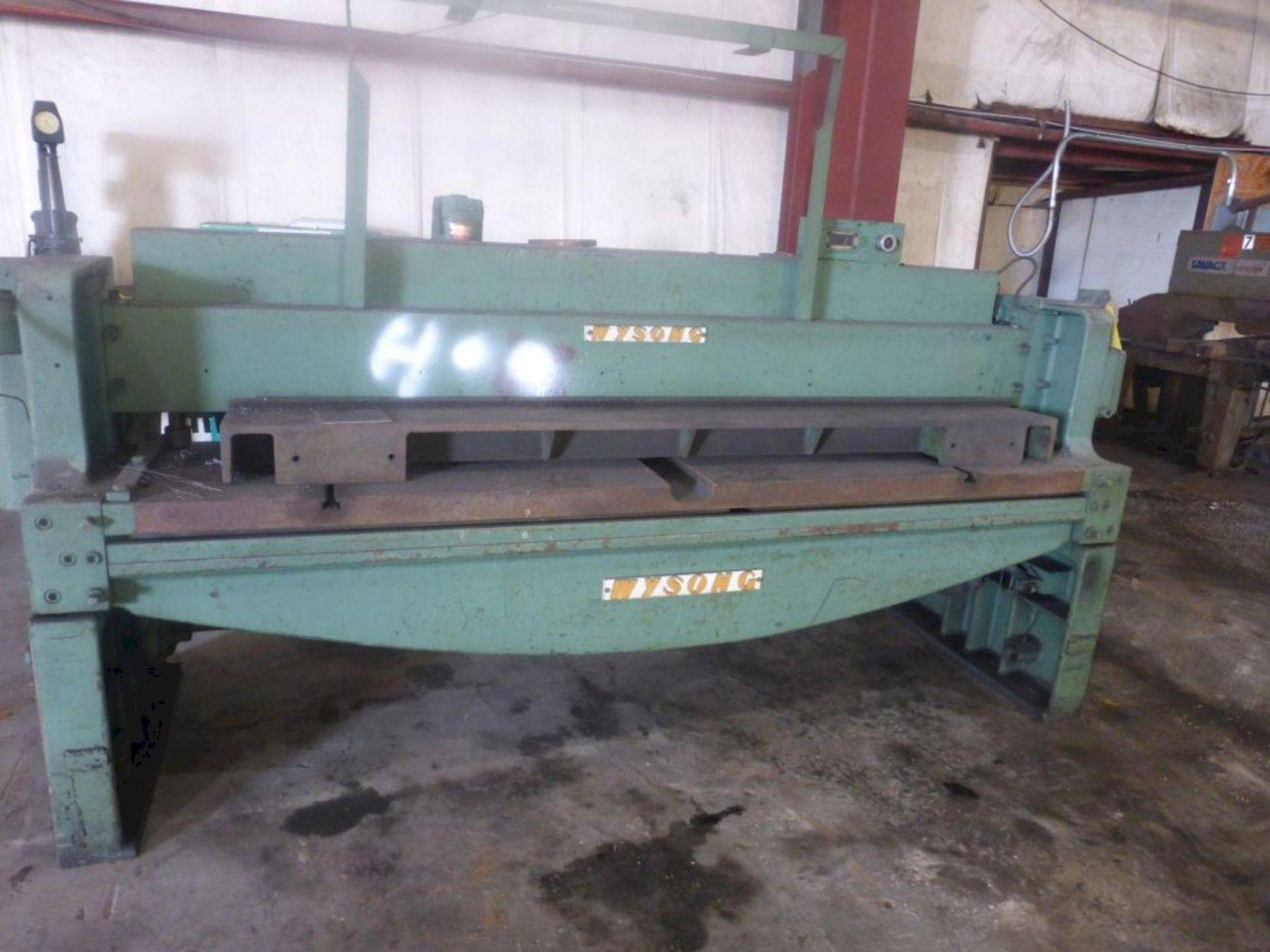8' WYSONG FRONT OPERATED BACK GAUGE MECHANICAL SHEAR: STOCK 13222