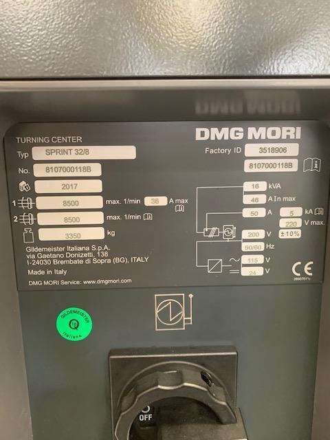 DMG Mori Sprint 32/8 CNC Horizontal Turning Center 2017 with: Fanuc 32i CNC Control, Iemca Bar Feeder, Chip Blaster, Mist Buster, and Coolant Tank.