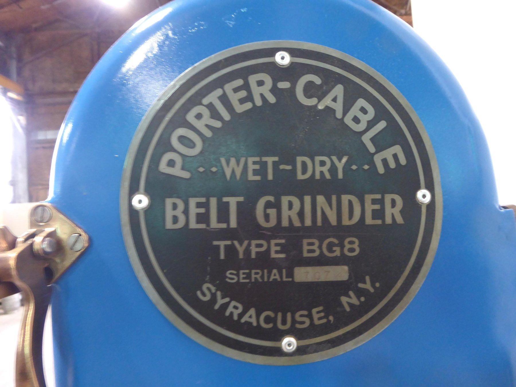 "8"" Porter-Cable Belt Grinder No. G8, 8"" x 11-3/4"" Table, 5 HP, Coolant, Clean"