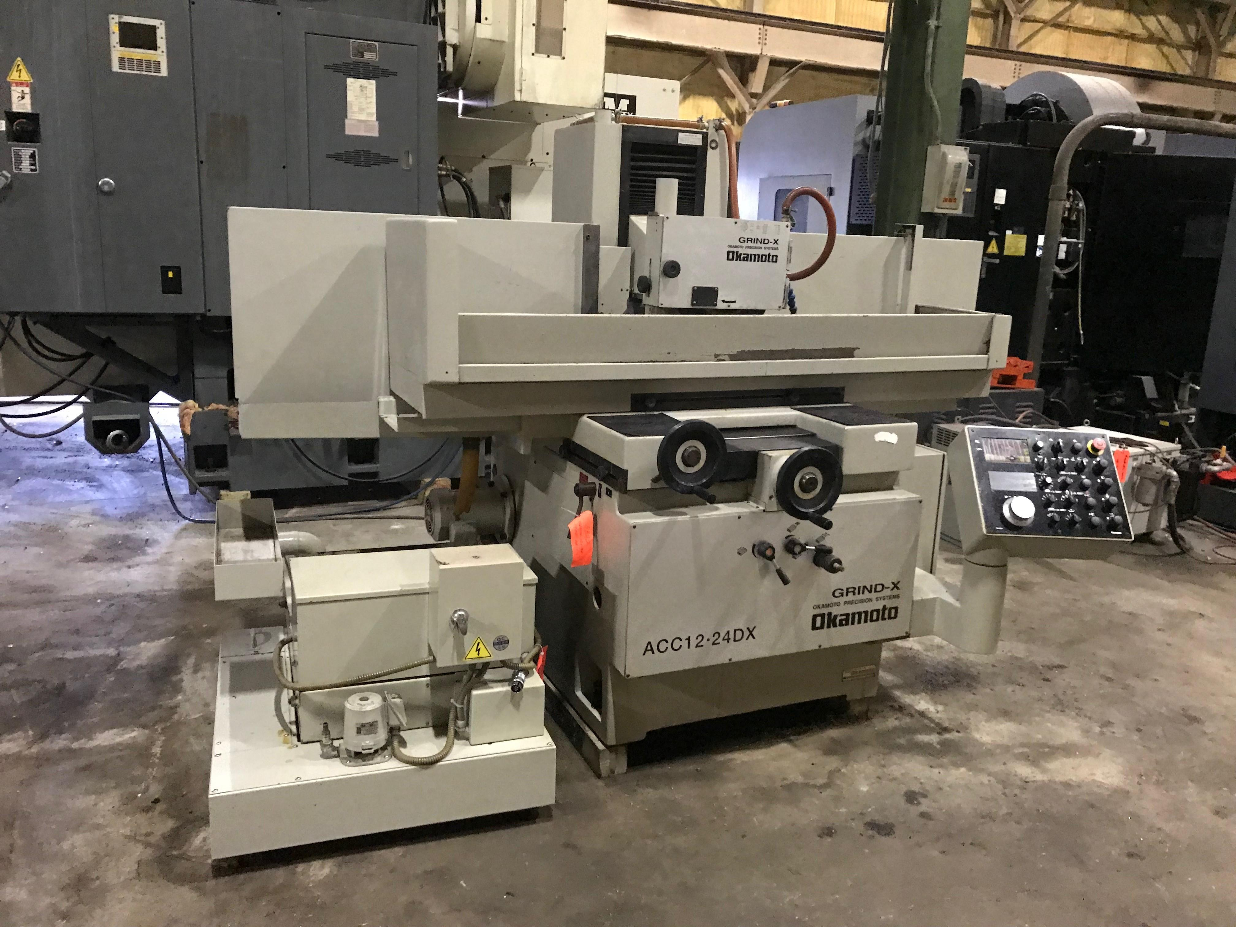 "12"" x 24"" Okamoto ACC1224DX Automatic Surface Grinder, 29.5""/13.6""/13.6"" Travels, 5 Horsepower, Paper Filtration, Chuck Controls, Servo Driven Vertical Feed with DRO, 2005"