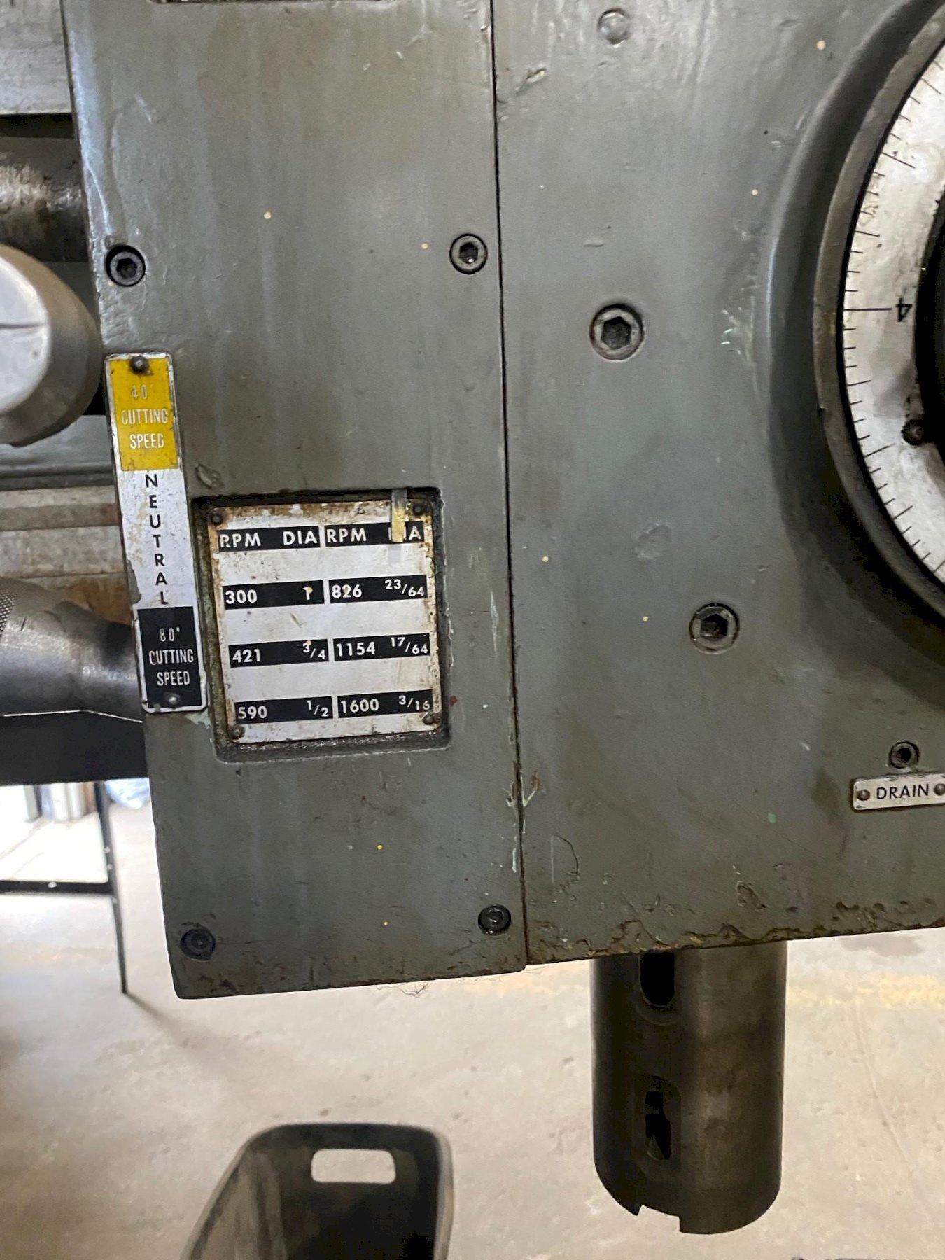 """5' X 11"""" CINCINNATI BICKFORD CHIPMASTER RADIAL ARM DRILL. STOCK # 0418421"""