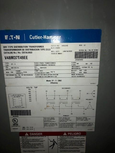 DRY TYPE DISTRIBUTION TRANSFORMER kVA 154