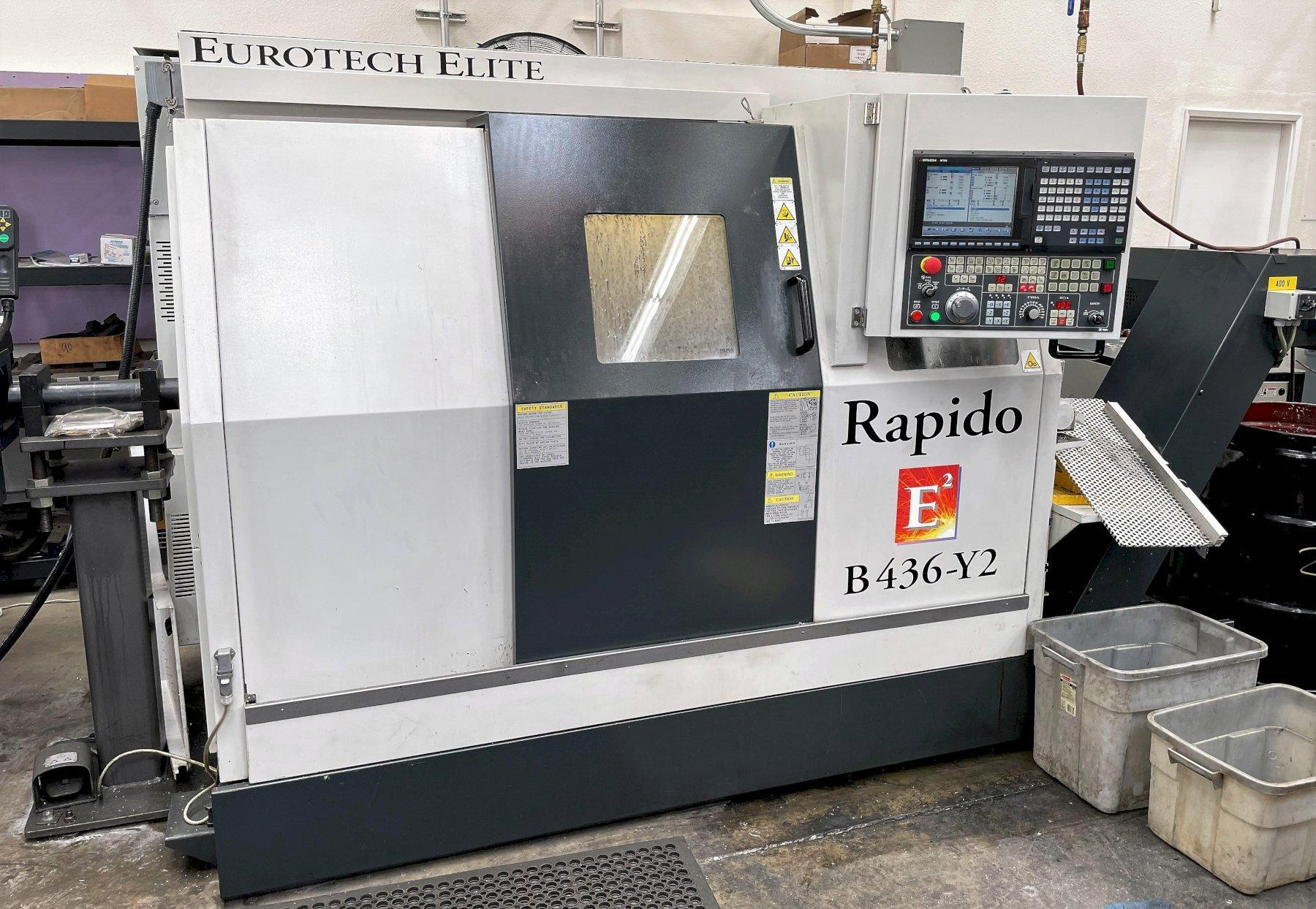 Eurotech Rapido B446SY2 CNC Turning Center 2018 with: Two Spindles and Two Turrets, Y-Axis on Both Turrets, HPC, Parts Catcher, Chip Conveyor, and Bar Feeder.