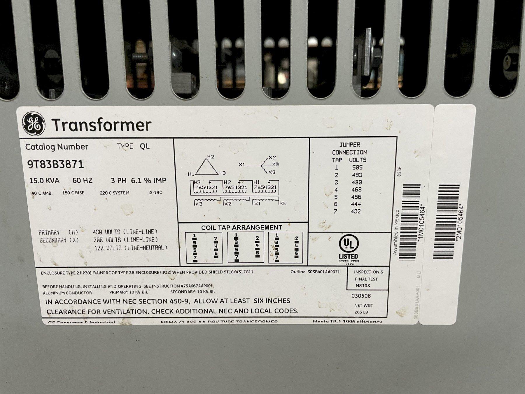 15 KVA GENERAL ELECTRIC 3-PHASE GENERAL PURPOSE TRANSFORMER 9T83B3871, Series QL, 480Y-208Y/120, 60 Hz, Multi Tap, Dry Type.
