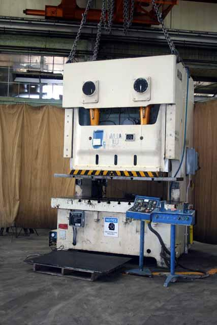 121-Ton AIDA Model NC2-110 (2) Gap Frame Double Crank Press, 74 x 26 bed, 7 stroke, 15-3/4 SH, 35-65 SPM, 1995