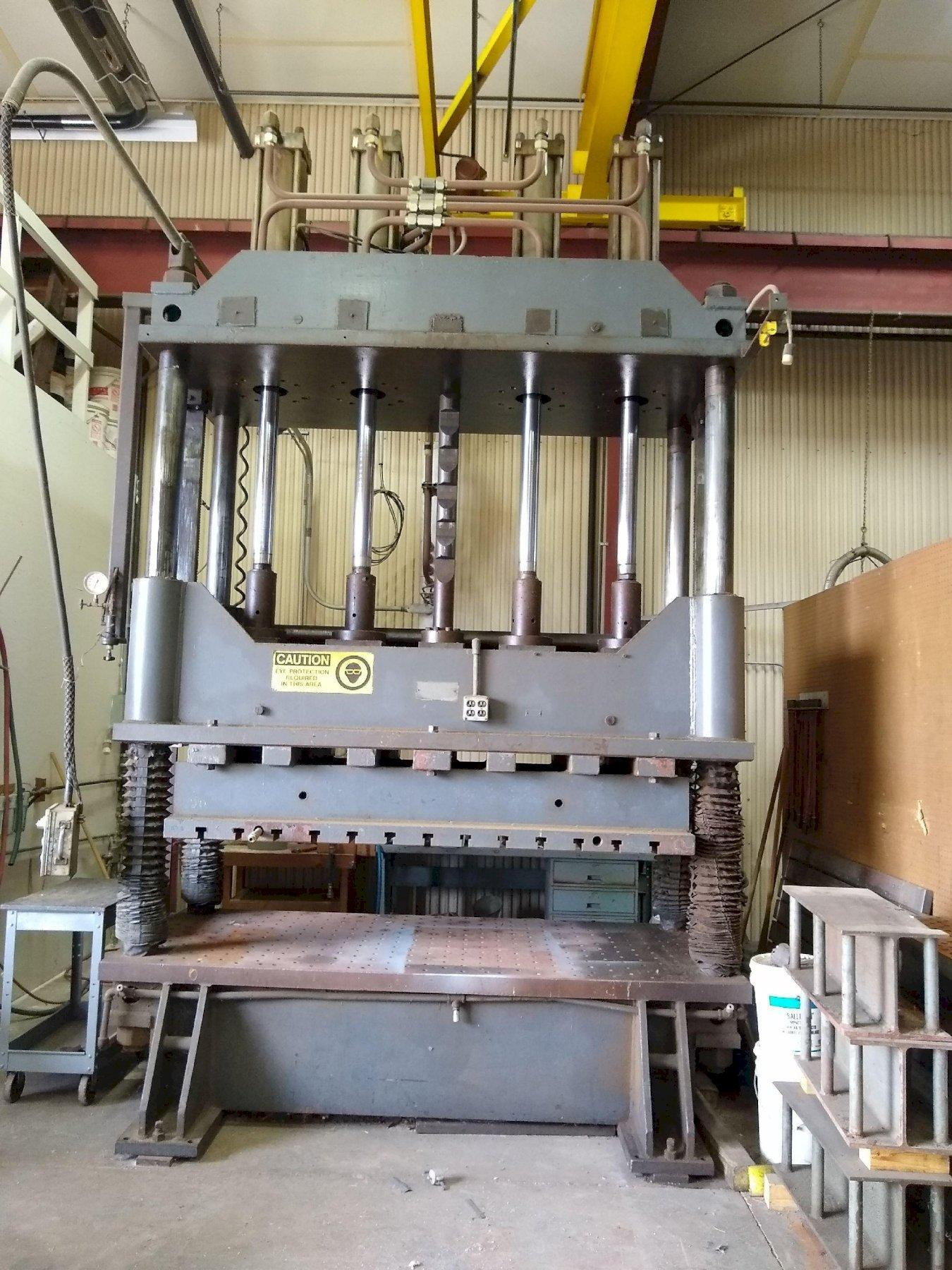 100 TON MODERN TOOL HYDRAULIC 4 POST PRESS. STOCK # 0848620