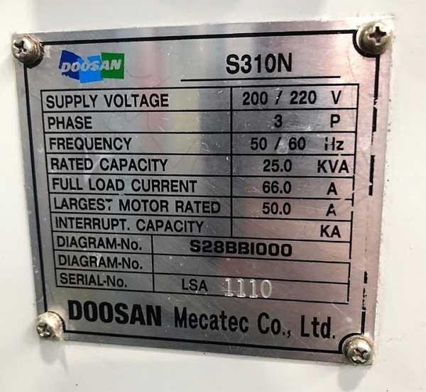 "DOOSAN S-310N, Fanuc i CNC Control, 10"" 3-Jaw Chuck, 19"" Swing, 12-Position Turret, 4500 RPM, New 2004."