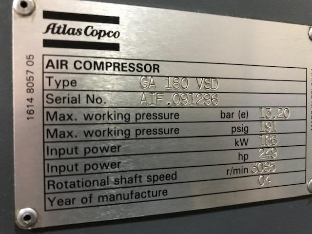 250 Hp Atlas Copco GA 180 Rotary Screw air compressor