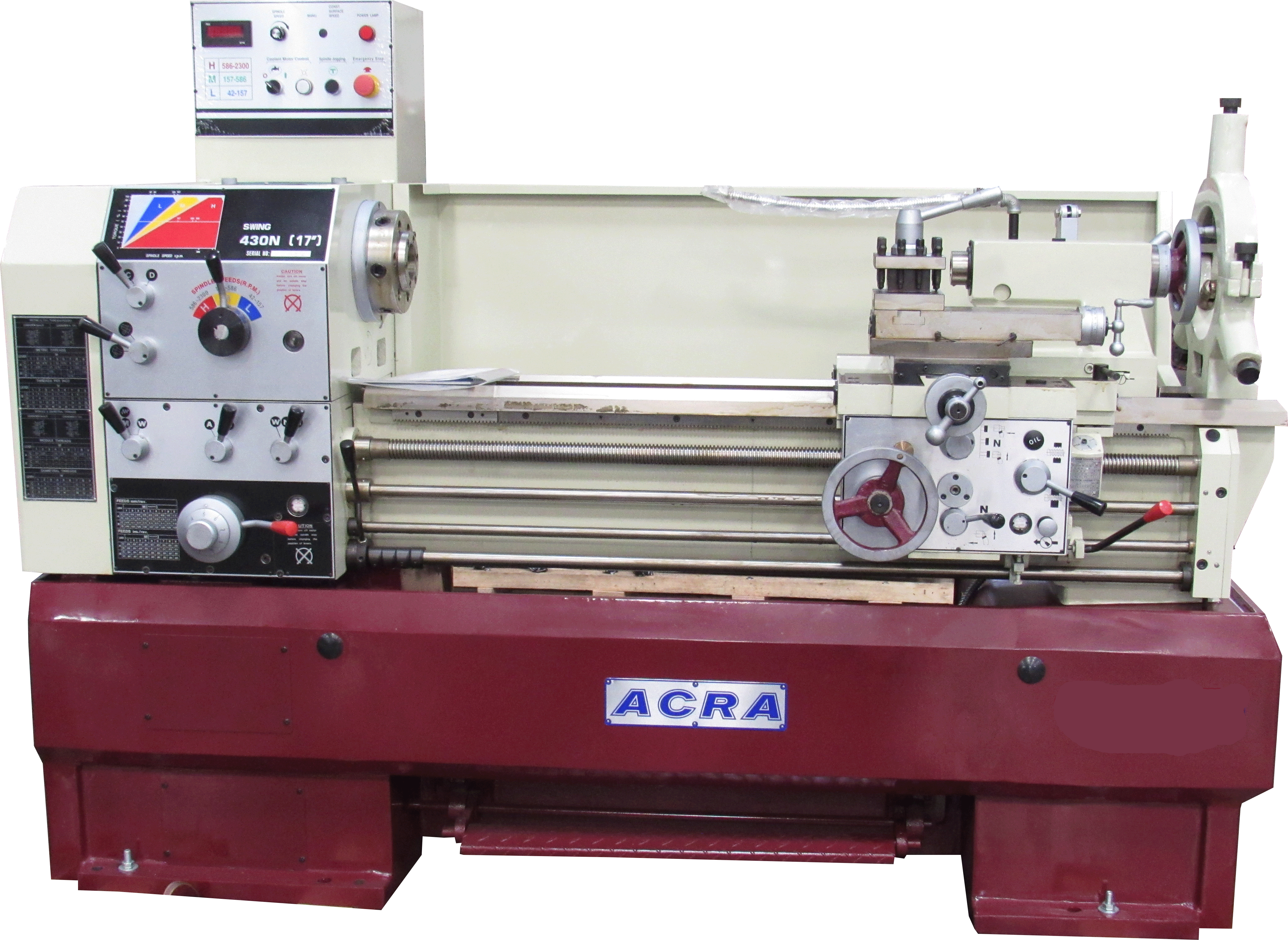 "17"" X 40"" ACRA MODEL 1740V PRECISION VARIABLE SPEED GAP BED ENGINE LATHE"