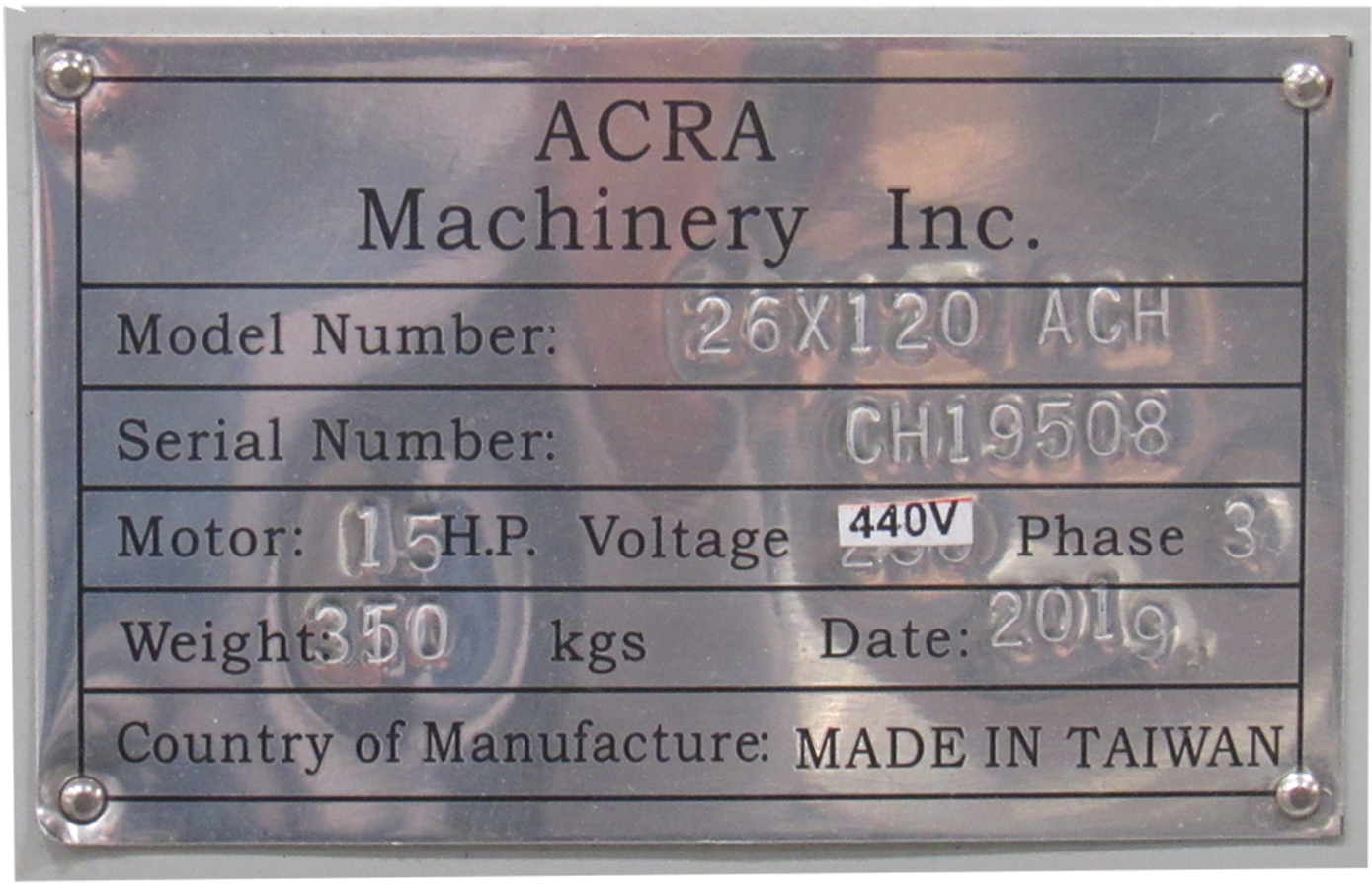 "26"" X 120"" ACRA MODEL 26120ACH PRECISION GAP BED ENGINE LATHE"