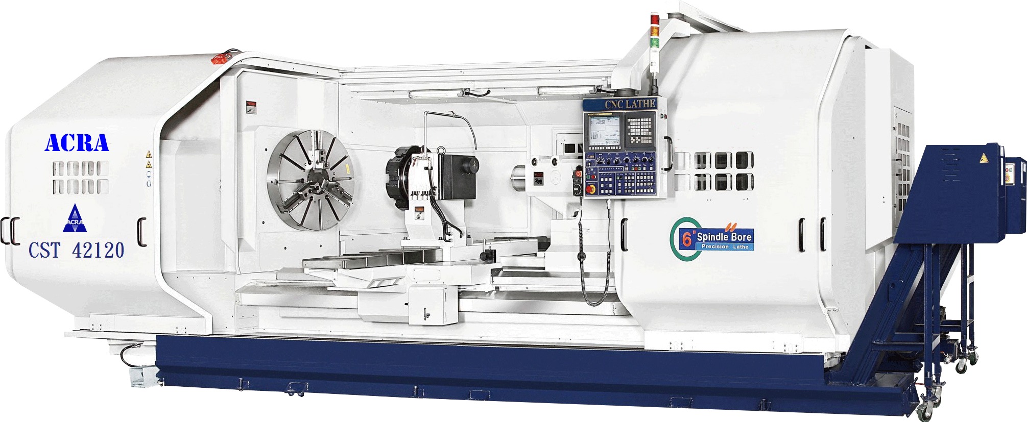 "42"" X 200"" ACRA MODEL CST42200 HOLLOW SPINDLE CNC FLAT BED LATHE WITH FANUC OITF CONTROLLER"