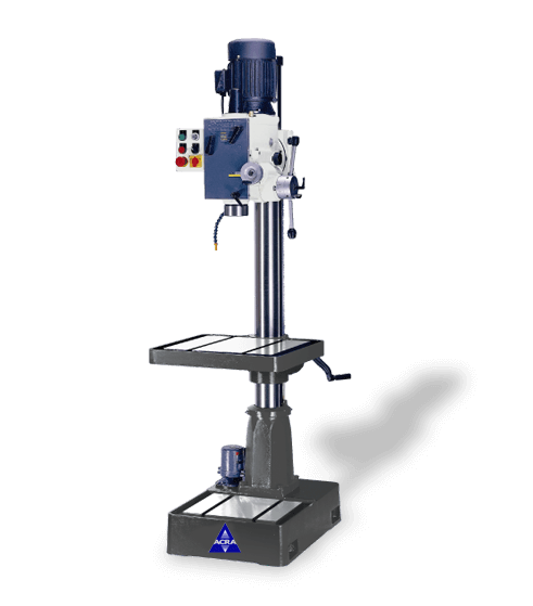 ACRA MODEL RF-46SF HEAVY DUTY GEAR HEAD DRILL PRESS MACHINE WITH POWER DOWN FEED AND COOLANT SYSTEM