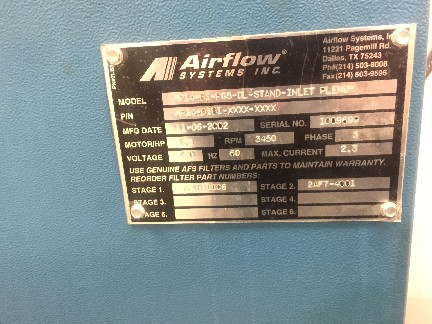 Airflow Systems Inc. MPI4-BI-PG5-DL-Stand Inlet Plenum 2002