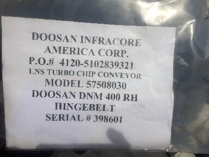 LNS Turbo Chip Conveyor New Fits Doosan DNM400 CNC Mill