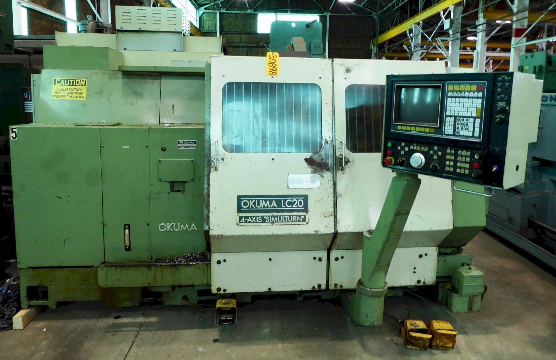 Okuma CNC Turning Center LC-20, Twin Turret, 39″ Center Distance, OSP500LG Control, Recenty Removed From Service