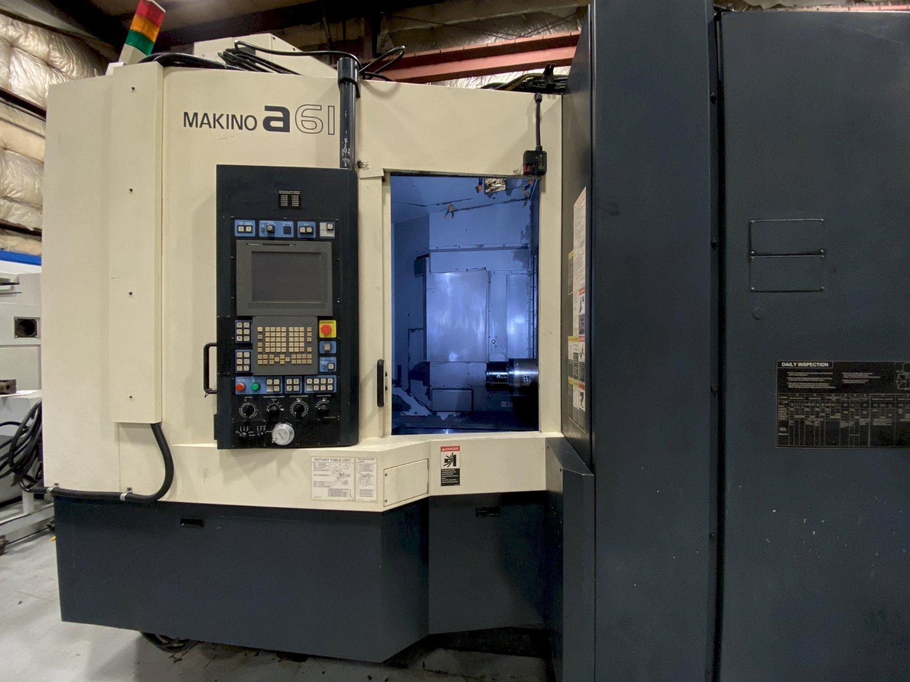 "Makino A61 CNC Horizontal Machining Center, Fanuc Pro 5, 12K Spindle, 19.7"" Pallets, 29""/26""/32"" Travels, CT40, Coolant Thru Spindle, 30 HP, Data Ctr, Full 4th Axis, Chiller, 2008 (2 Available)"