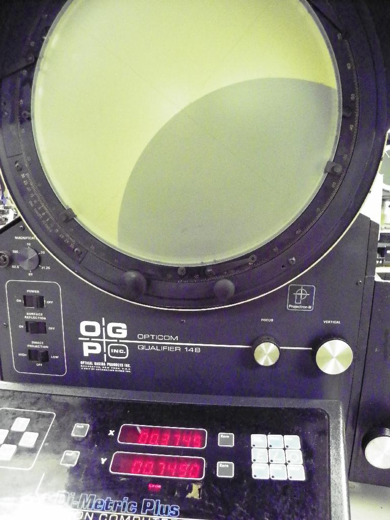 "14"" OGP (OPTICAL GAGING PRODUCTS) OQ-14B Bench Top Optical Comparator, S/N OQB14469.  Availability Pending."