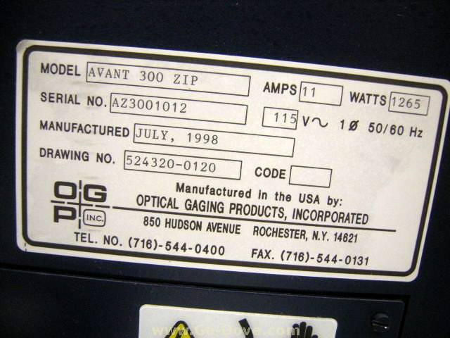 OGP Optical Gaging Products Avant Zip 300 CNC Video Measuring Machine, S/N AZ3001012, New July 1998. Offered as is.