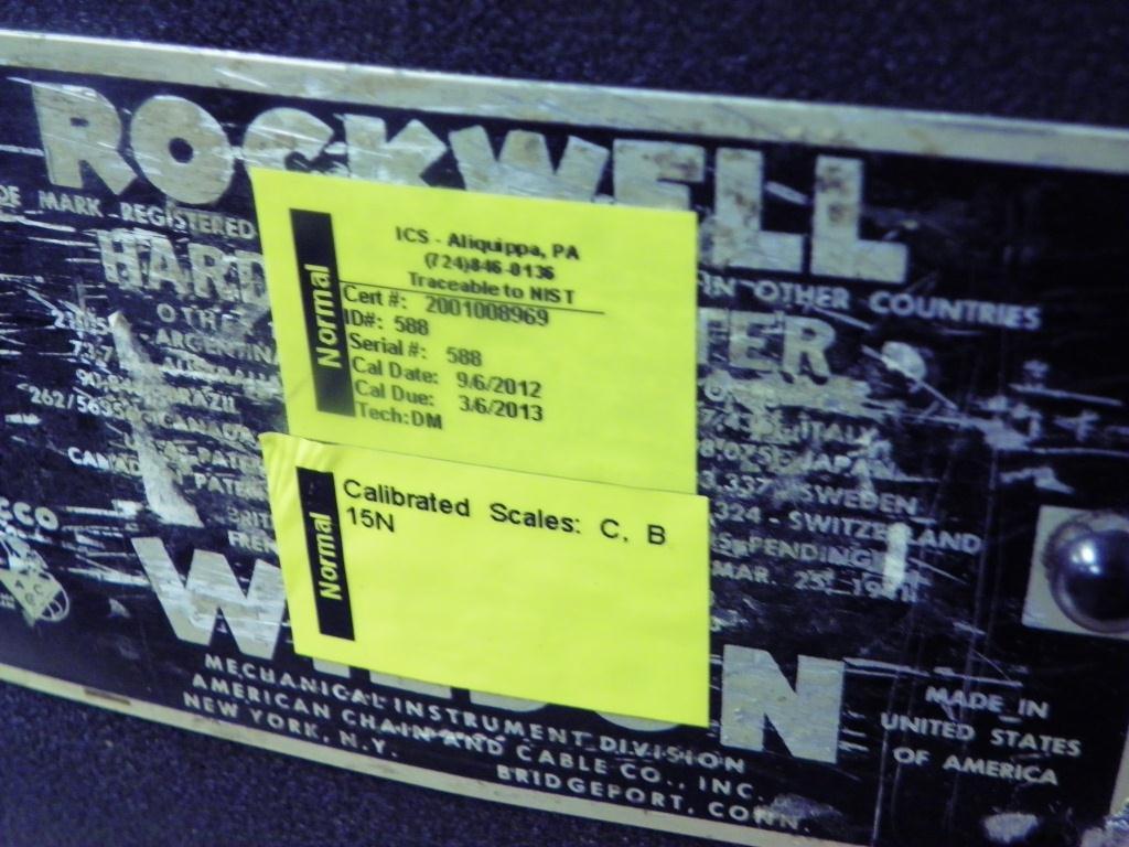 WILSON ROCKWELL Model 4 TT BB Hardness Tester, S/N 588