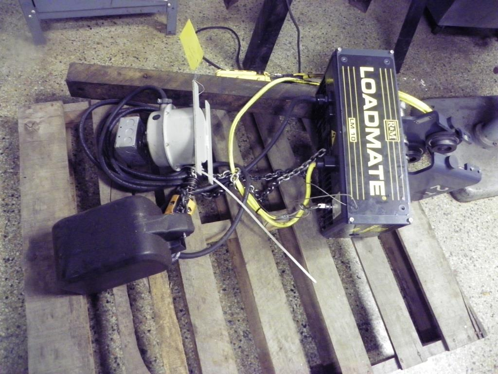 R&M Loadmate LM10 1 ton hoist with 2 ton push trolley - offered as shown